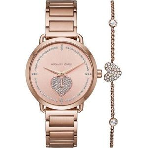 New MK rose Gold Tone Portia Pave Watch & Bracelet